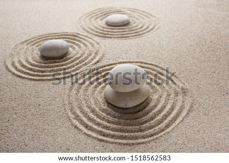 Japanese zen garden stone for concentration and relaxation sand and rock for harmony and balance