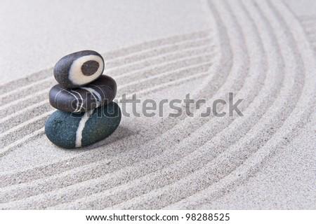 Japanese zen garden stone on raked sand mini rock garden zen concept stock photo 98288525 - Japanese sand garden mini ...