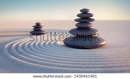 Japanese zen garden - two stacks of pebbles in the evening sun - 3D illustration