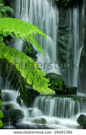 Japanese Zen Garden Waterfalls in slow shutter.
