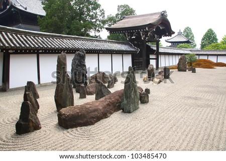 Japanese zen garden with rocks and raked gravel (Tofuku-ji, Kyoto)