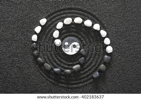 Photo of  Japanese ZEN garden with yin and yang stone in raked sand