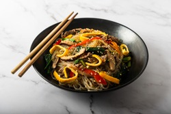 Japchae, Korean glass noodle stir fry