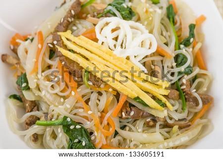 Japchae - Stir fried Korean sweet potato noodles with vegetables ...