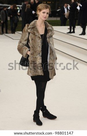 Jaquetta Wheeler arriving for the Burberry Prorsum fashion show as part of London Fashion Week 2012 A/W in Kensington Gardens, London. 20/02/2012 Picture by: Steve Vas / Featureflash