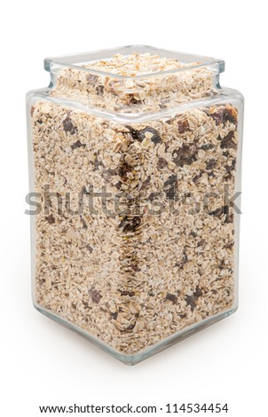 jar filled with oatmeal isolated on white with clipping path