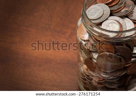 Jar full of coins background