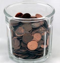 Jar Full Of Pennies Nearly Full