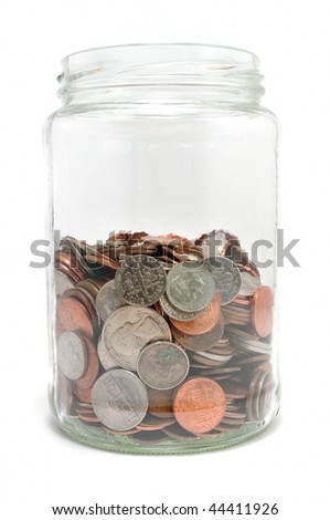Jar Half Full of Coins Isolated on a White Background