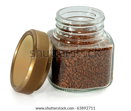 jar instant coffee on a white background