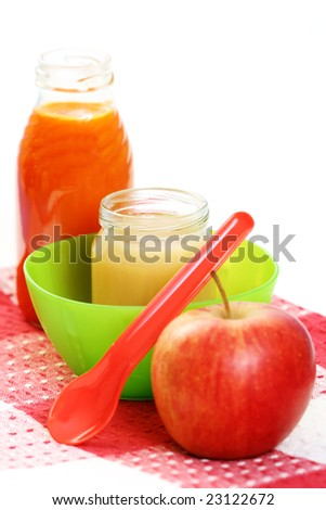 jar of apple food for baby - nutrition