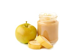 Jar of baby puree with apple and banana isolated on white. Top view