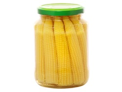 Jar of canned baby corn