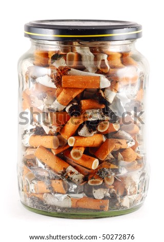 jar of cigarettes isolated on white