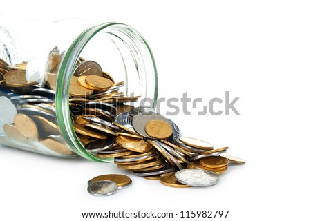 jar of coins on white background