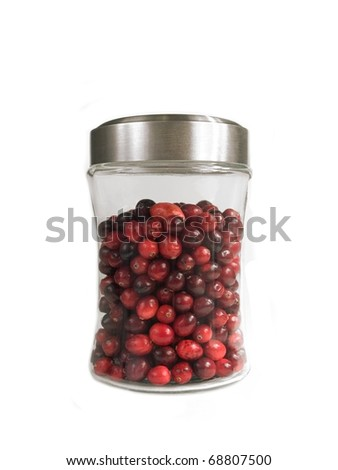 Jar of Cranberries Isolated on White