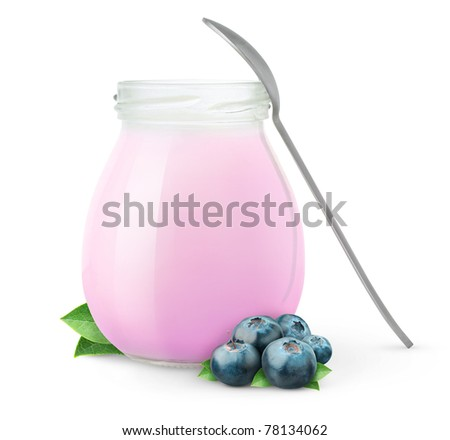 Jar of fresh blueberry yogurt isolated on white