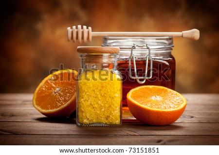 Jar of honey and orange bath salt