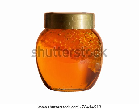 Jar of Honey with honeycomb isolated on white