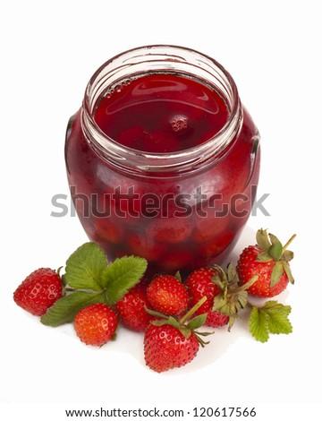 Jar of jam  a white background