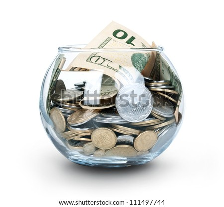 Jar of Money Isolated on a White Background