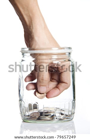 Jar of Money with hand picking up Isolated on a White Background
