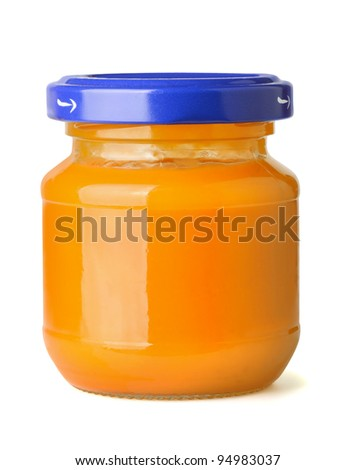 Jar of natural baby fruit puree isolated on white