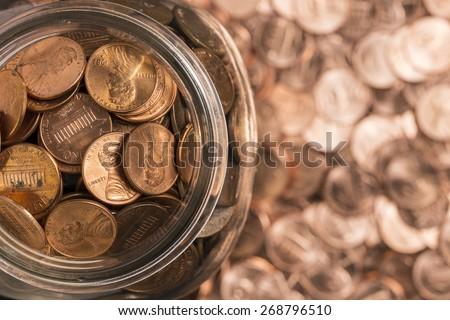 Jar Of Pennies Zdjęcia stock ©