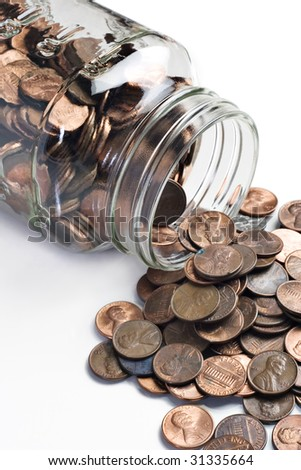 jar of pennies tipped over stock photo 31335664 shutterstock