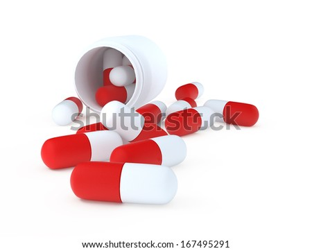 jar of pills on a white background