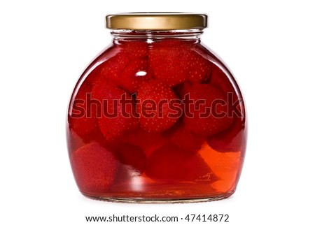 jar of strawberry compote, isolated on the white