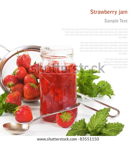 Jar of strawberry jam and fresh strawberries in a colander (with sample text)