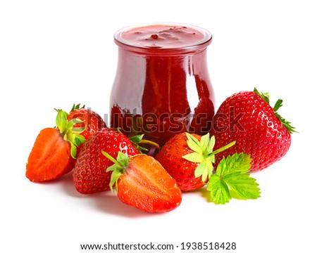 Jar of tasty strawberry jam on white background Stock photo ©