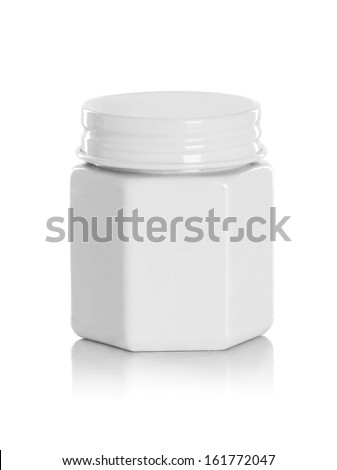 jar or blank packaging for cosmetic product with cap isolated in white