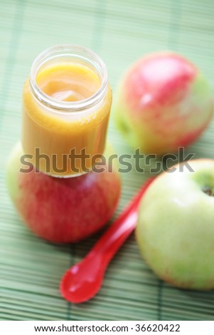 jar with apple of baby food - food and drink