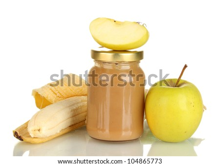 Jar with banana and apple baby food isolated on white