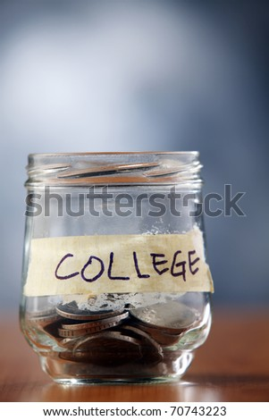 Jar with coins labeled college.