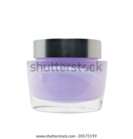 Jar with cosmetic cream isolated over white
