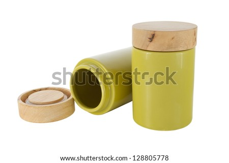 jar with cover for bulk products - stock photo