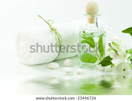Jar with fresh leaves, flowers and towel (SPA concept) with soft focus reflected in the water