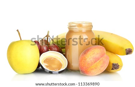Jar with fruit baby food and fruits isolated on white