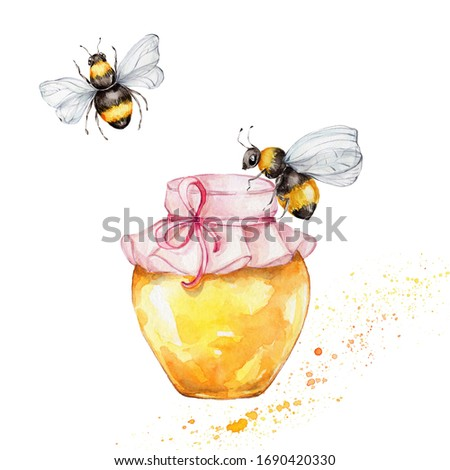 Jar with honey and bees; watercolor hand draw illustration; with white isolated background
