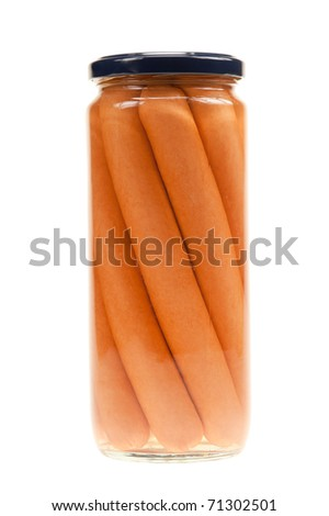 Jar with hot dogs isolated on white background