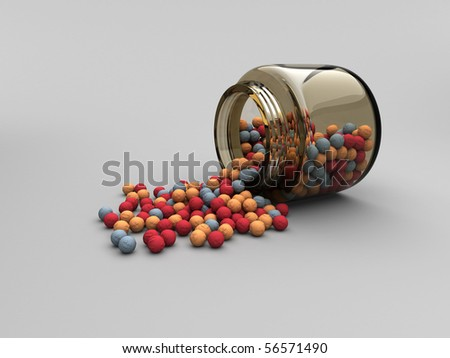 Jar with scattered radiation balls