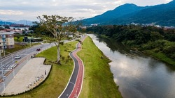 Jaraguá do Sul SC - Aerial view of the Via Verde Linear Park - Bike path by the river