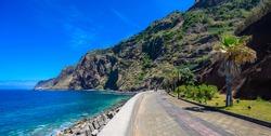 Jardim do Mar - Village with Promenade at beautiful coast of Madeira island, Calheta, Portugal.