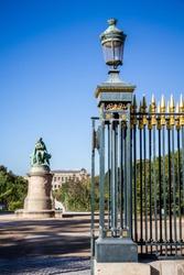 Jardin des plantes Park entrance and Lamarck statue, Paris, France
