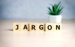 Jargon - word from wooden blocks with letters, special words and phrases jargon concept, top view on blue background