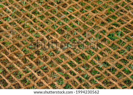 Jaring sabut kelapa, coconut coir net. made of woven coconut coir rope. This net is useful for mine reclamation and reclamation of the environment damaged by humans. Stockfoto ©