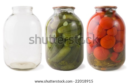 jars collection - empty, canned tomatoes ,canned cucumbers